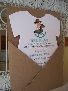Cowboy Baby Shower InvitationCustom Die Cut by BeautifullyInviting, $2.00