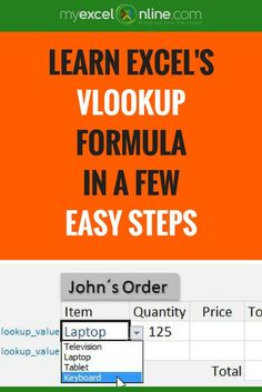 How to use Excel's VLOOKUP formula with a drop down list. | Learn Microsoft Excel Tips + Free Excel Tutorials & Cheat Sheets | The Most In-Depth Excel Video Courses Online at http://www.myexcelonline.com/138-23.html