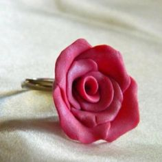 Polymer clay rose ring.... Mary's Jewelry Designs..... Handmade polymer clay rose on silver ring!!!!