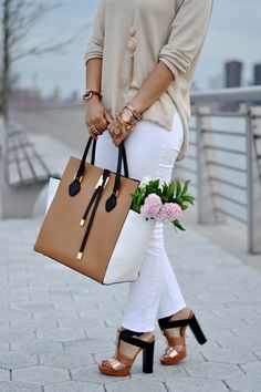 "Chic Neutral + Colorblock Accessories | Michael Kors ""Miranda"" Collection Handbag   Sage + Sparkle"