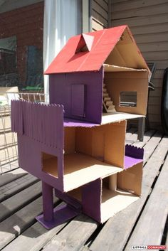 Doll House (cardboard, modern, 3-storey + attic, stairs, balconies)