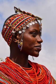 Africa | Portrait of a Rendille woman with pendants on her beaded headdress, Marsabit, Kenya | © Rita Willaert #beads