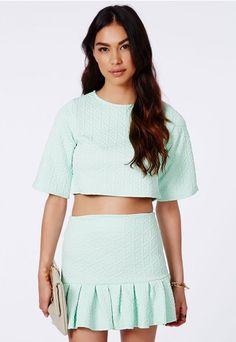 Mattie Textured Pleated Mini Skirt - Skirts - Mini Skirts - Missguided