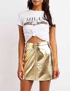 c4faf0395c Faux Leather Zip Up Skirt Sequin Mini Skirts, Leather Mini Skirts, Zip Ups,