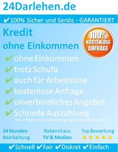Willkommen auf 24Darlehen.de – ✔Kredit ohne Einkommen    Schön das Sie sich für 24Darlehen.de  als ihren seriösen und kompetenten Partner für einen Kredit ohne Einkommen.