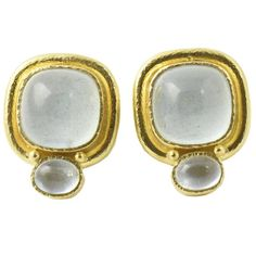 Elizabeth Locke Aquamarine Gold Earclip Earrings   From a unique collection of vintage clip-on earrings at https://www.1stdibs.com/jewelry/earrings/clip-on-earrings/