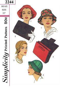 Unique HAT Fascinator Cap Vintage 1930/'s Simplicity 2031 Fabric Sewing Pattern