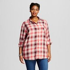 4c63397f0a0c2 Women s Plus Size Plaid Button Down Shirt Coral - Ava  amp  Viv™ Plus Size