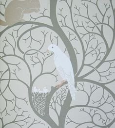 Squirrel & Dove Wallpaper Climbing tree design with squirrel and dove with chicks in gold and taupe, original first produced in 1890s