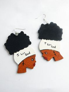 Afro Earring I Luv God Jewelry Wooden Earring Black Woman Christian Earring Art Afrocentric Jewellery Hand Painted Natural Hair Earring Cute by TheBlackerTheBerry