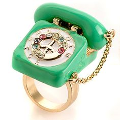 Gold and Apple Green Dream Phone Ring from Me & Zena. Also available in silver. Call me, call me, call me anytime!