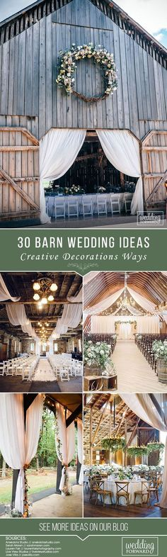 30 Creative Ways To Decorate Barn Wedding ❤ In the barn you can organize a cozy rustic or glamorous and elegant wedding. You will love these barn wedding ideas in our gallery. #weddings #decorations #weddingdecor #barnwedding