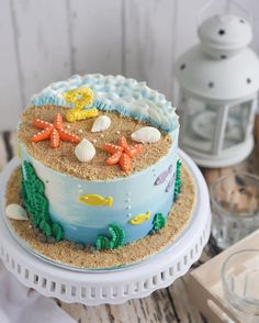 """181 Likes, 3 Comments - Edibles Bake Shop • Serene T. (@ediblesbakeshop) on Instagram: """"A fish and seaside themed cake for Gareth's 2nd birthday! Mummy Chloe requested for an all…"""""""