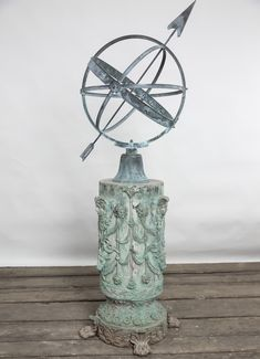 Antique Bronze Pedestal, highly decorated with figural heads, floral medallions and swags, Rams heads and wonderfully detailed paw feet. Lovely patina and in excellent condition. Heavy bronze piece. Circa 1910. Price for pedestal only. The Armillary Sundial is not included, but you can find it here Janus Bronze Armillary . Garden Ornaments For Sale, Cement Garden, Sundial, Pedestal, New England, Victorian, Carving, Bronze, Antiques
