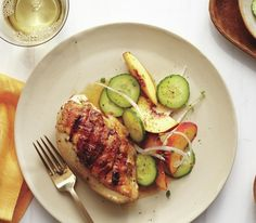Grilled Chicken Breasts with Peach and Cucumber Salad