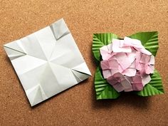 Origami Leaves, Origami Flowers, Projects To Try, Paper Crafts, Hydrangeas, Tissue Paper Crafts, Paper Craft Work, Papercraft, Paper Art And Craft