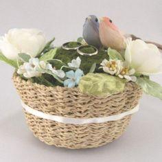 リングピロー 小鳥と花かご♪