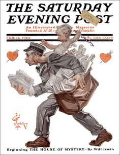 Cupid on Mailman's Back: J.C. Leyendecker;  February 12, 1910; Saturday Evening Post