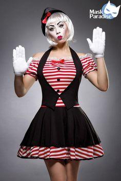 3 Tlg Sexy Mime Kostümset Karneval Fasching Kostüm Girl Damen Gr:S-L