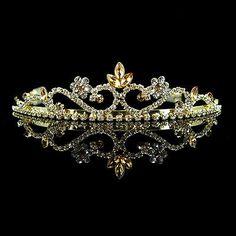 3cm High Golden Crystal Wedding Bridal Bridemaid Prom Party Tiara Headband - BUY NOW ONLY 6.0