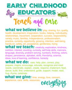 Early Childhood Educators TEACH and CARE Printable Poster from Share & Remember childhood education Early Childhood Educators TEACH and CARE Printable Poster