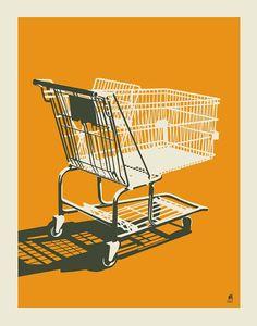 Shopping Cart  11 x 14 orange silk screen print by methanestudios, $20.00