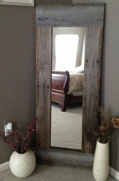 Full Length Barn Wood Mirror For hallway DIY with cheap mirror and repurposed wood - 40 Rustic Home Decor Ideas You Can Build Yourself - Page 7 of 9 - DIY Crafts Barn Wood Mirror, Rustic Mirrors, Barn Wood Decor, Reclaimed Wood Mirror, Wood Home Decor, Salvaged Wood, Barn Wood Shelves, Pallet Mirror Frame, Barn Wood Bathroom
