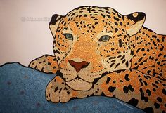 """Leopard"" , Handpainted Dot Art Painting (painted on commission) . Acrylic on Linnen. More info about me & my art at manon-elmendorp.nl"