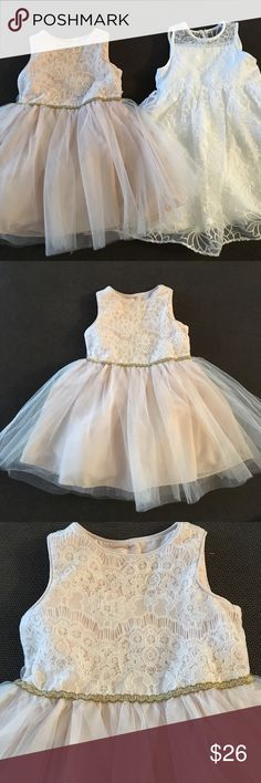 """Mia & Mimi baby girl 18mo dresses combo package New with tags, one of Target's new clothing line Mia & Mimi. Super adorable baby girl dresses size 18 months. Pale blush dress with tulle has under pants with 3 buttons on back for closure, measurement from neck down to hem is 16"""". The white dress has embroidered flowers all around, a bow on back with 3 buttons, measurement from neck to hem is almost 17"""", and has lil underpants. Both retail at $23.99 Mia & Mimi Dresses Formal"""