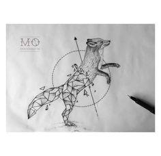My Most Favorite Geometric Tattoo Geometric Elephant, Geometric Fox, Geometric Drawing, Geometric Tattoo Fox, Tattoo Abstract, Geometric Origami, Wolf Tattoos, Animal Tattoos, Black Tattoos