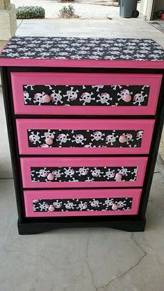 Redid my daughters old dresser to fit her Monster High theme room!