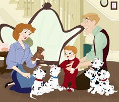 Roger and Anita and their baby Henry, which means home. Spots and Socks by ~Grodansnagel on deviantART
