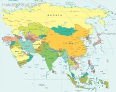 Map of wast asia china russia mongolia japan south korea north cool map of europe and asia gumiabroncs Gallery