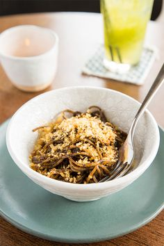 Bring all your meat-free friends for bowls of the malty linguine with a little chilli that gets a lift from black garlic and gentle crunch thanks to tiny crumbs of pangrattato Black Garlic, Free Friends, Linguine, Best Dishes, Bowls, Bring It On, Vegetarian, Meat, Breakfast