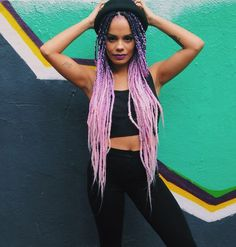 afro pink box braids - ombre look