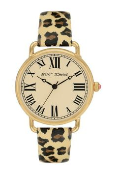 Betsey Johnson Women's Vintage Dial & Leopard Patent Leather Strap Watch by Non Specific on @HauteLook