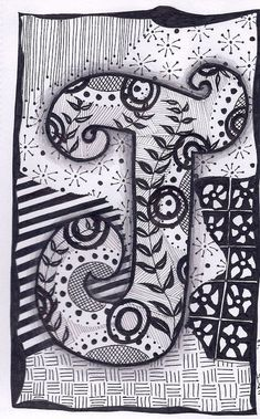 Letter I ZebrA Letters Name Bunting Zentangle By