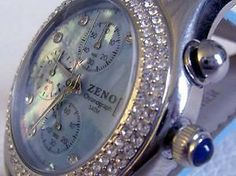 ZENO Sehr schöner Damen-Chronograph mit Diamon in edlem blau, Ø:40mm, Swiss Made by Ebay Shop edeluhren4you