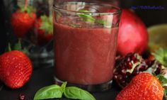 Pomegranate Strawberry Basil Drink