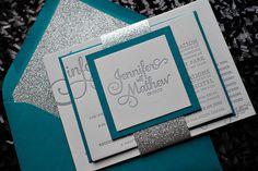 glitter wedding invitations, peacock and silver, letterpress wedding invitations