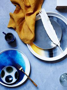 The Establishment Studios, Melbourne. Love this image, so rich with colour and beautiful subtle texture. Classic Glen Proebstel napkin crumple.
