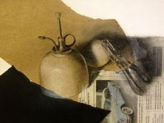 Mixed-Media Drawing/ Collage Project, still life drawing on collage of diifferent papers