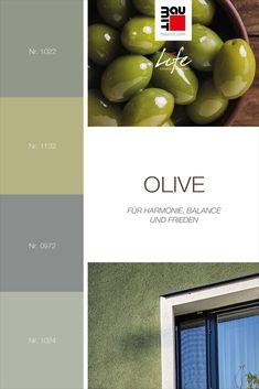 Oliv ist ein Grünton mit einem leichten Stich ins Schwarze. Diese Farbe ist in der Natur sehr weit verbreitet und sieht deshalb sehr natürlich aus, wenn es für die Gestaltung einer Außenwand verwendet wird. Sie hat die gleichen Eigenschaften wie Grün – sie bringt Harmonie, Balance und Frieden. Sie kann auch leicht mit warmen natürlichen Tönen oder erdigen Farben kombiniert werden. Dieser Grünton verleiht jedem Exterieur immer ein Gefühl der Ruhe. #oliven #Farbtrends2020wohnen #Farbtrends2020 Color Of Life, Colours, Nature, Inspiration, Peace, Biblical Inspiration, Naturaleza, Nature Illustration, Off Grid