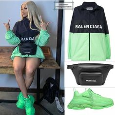 Buy shoes Balenciaga Triple S Trainers Neon Green For fitness Balenciaga Sneakers Outfit Balenciaga buy fitness Green Neon shoes Trainers triple Cute Swag Outfits, Sporty Outfits, Retro Outfits, Stylish Outfits, Balenciaga Jacket, Balenciaga Sneakers, Teen Fashion Outfits, Girl Outfits, Fashion Shoes