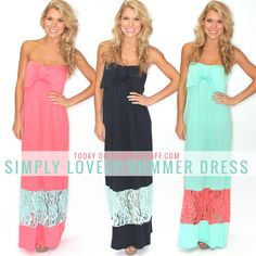 Simply sweet bow front maxi length dress with color block lace panel, too good to pass up! Carly is wearing a size small and is Made of viscose. Ladies Boutique, Boutique Clothing, Summer Maxi, Summer Dresses, Riff Raff, Dress With Bow, Sassy, Dress Skirt, Strapless Dress