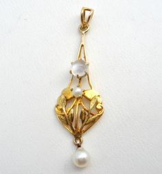 Victorian-10K-Yellow-Gold-Pearl-Moonstone-Lavalier-Pendant-For-Necklace-Antique