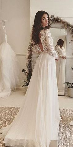 Lace Bateau Neck Front with V-Neck Back Flared Gown