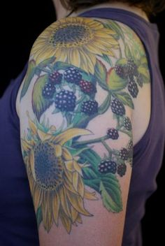 Sunflowers and blackberries- Marie Brennan from Diving Swallow Tattoo