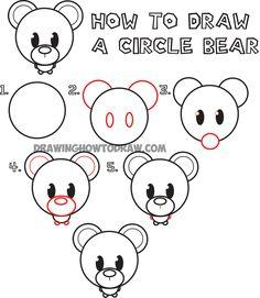 How to Draw a Cute Cartoon Circle Bear