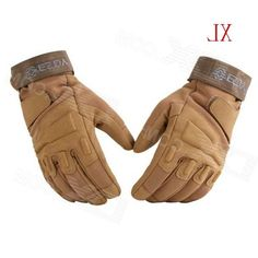 Esdy HYXL-3 Outdoor Racing / Airsoft Hunting / Cycling Pu Full-Finger Tactical Gloves - Tan (XL)